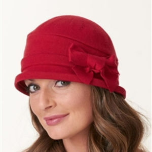 PARKHURST WOOL CLOCHE HAT WITH BOW DETAIL BORDEAUX